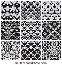 squama seamless background - Set of seamless patterns with...