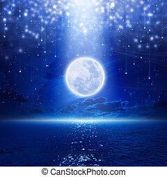 Full moon party background, night sky with full moon and...