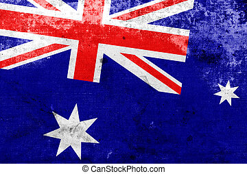 Australia Flag with a vintage and old look