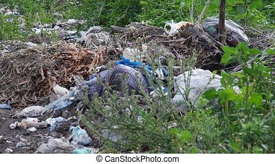 mountain of garbage in nature - Big pile of garbage and...