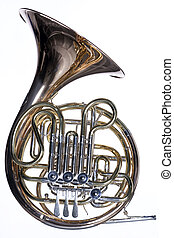French Horn Isolated Against White - A gold brass French...