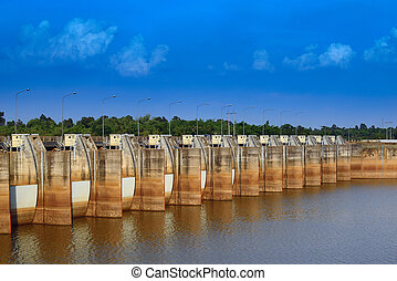 Dike - Water flowing from the dam, Water Gates for...