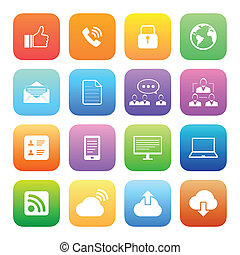 Colorful style Internet icons vector set.
