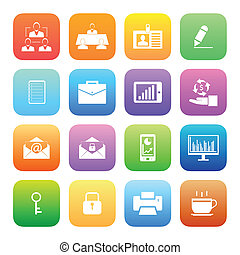Colorful style Business and office icons vector set