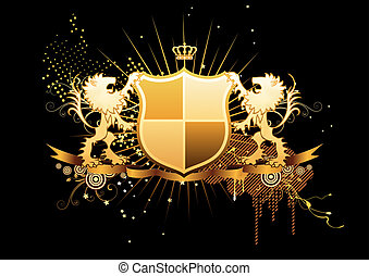 heraldic shield - illustration of golden heraldic shield or...