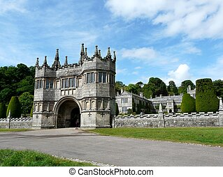 Lanhydrock Castle near Bodmin in England - Main entrance at...