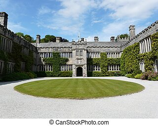 Lanhydrock Castle near Bodmin in England - Main courtyard at...