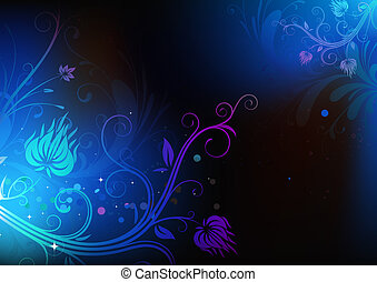 Floral Decorative background - illustration of futuristic...