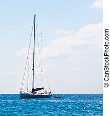 sailboat sailing sail blue Mediterranean sea ocean horizon