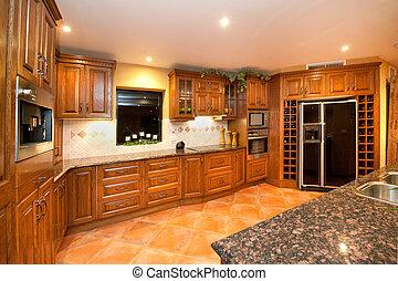 Woodgrain finish kithen - Kitchen finished in a woodgrain...