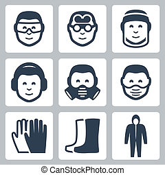 Vector job safety icons set