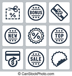 Vector coupon and discount related icons set