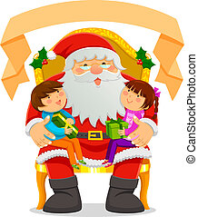 Santa Clause and kids - Santa Clause with two kids on his...
