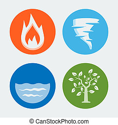 Four elements - vector icons set #1