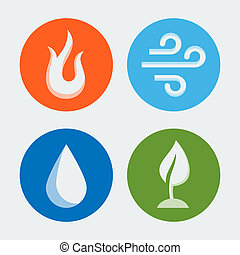Four elements - vector icons set 2