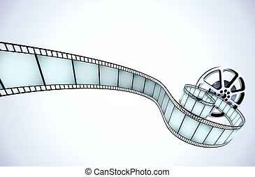 film - illustrator of movie reel with a strip of exposed...