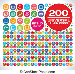 200 Universal Plain Icon Set 2