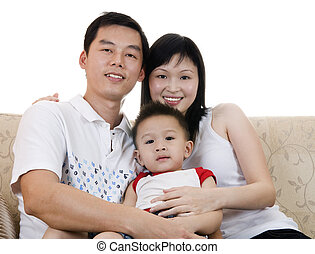 Asian Family - Happy Asian young father, mother and son