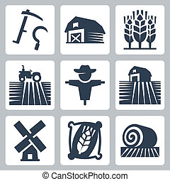 Agriculture and farming vector icons set