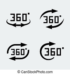 Vector 360 degree rotation concept icons set