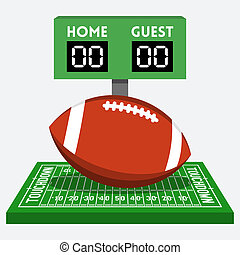 Vector american football field and ball composition