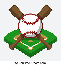 Vector baseball field, ball, and bat composition