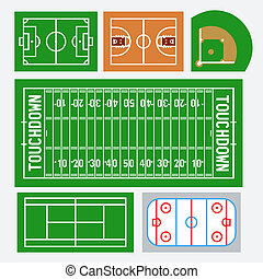 Vector sport fields set: soccer, basketball, baseball, american football, tennis, hockey