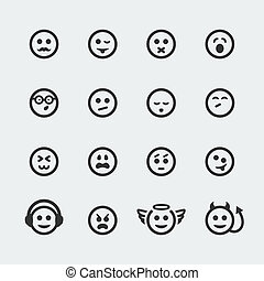 Vector smile mini icons set 2