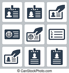ID card vector icons set