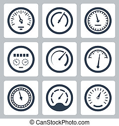 Meters vector icons set 2