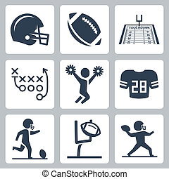 American football vector icons set