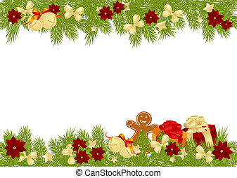 Christmas card with decorations - bows, stars and...