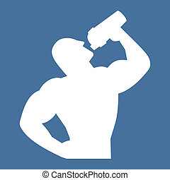 Vector icon of an athlete holding a shaker