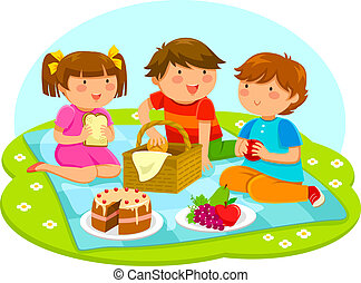 kids on a picnic - three cute kids having a picnic together