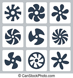 Fan propellers vector icons set