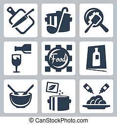 Cooking food and dining related vector icons set