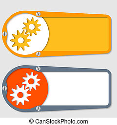 set of two boxes for any text with cogwheels
