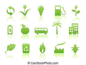 ecology icon set - illustration of green ecology icon set