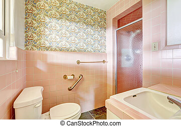Light pink bathroom in old house
