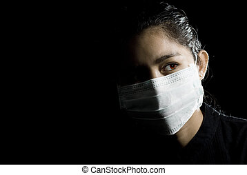 protective face mask on asian woman - flu alarm: protective...