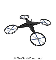 Remote Controlled Quadcopter Drone isolated on white - 3d...