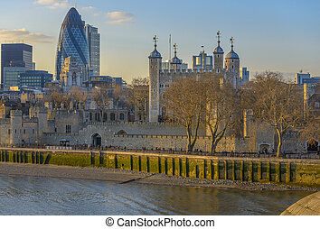 Tower of London at sunset - Tower of London and Gherkin...