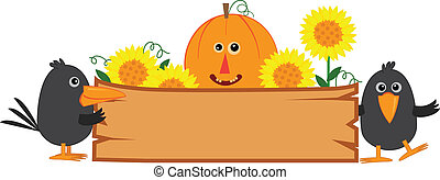 Cute Fall Sign - Cute fall banner with pumpkin, sunflowers...