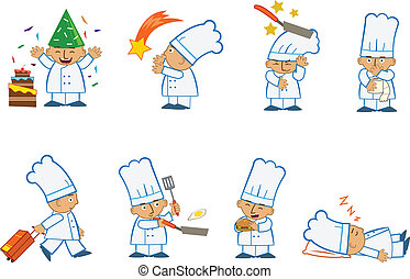 Tiny Chef Special - Fun set of eight chef emoticons doing...