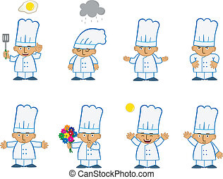 Tiny Chef Basic - Cute set of eight chef emoticons with...