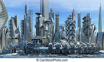 Science fiction skyline architectur