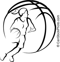 Girl Dribbling a Basketball - Stylized illustration of a...