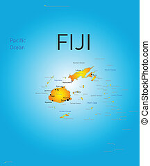 Fiji country - Vector color map of Fiji