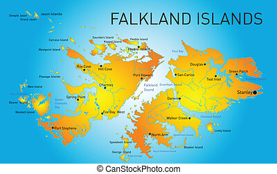 Falkland islands - Vector color map of Falkland islands