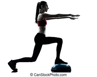 woman exercising bosu balance ball trainer silhouette - one...